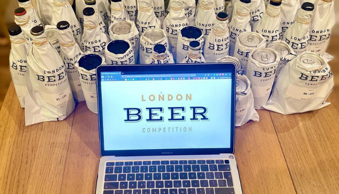 Gabriele Bertucci ready to blind taste beers for London Beer Competition 2021