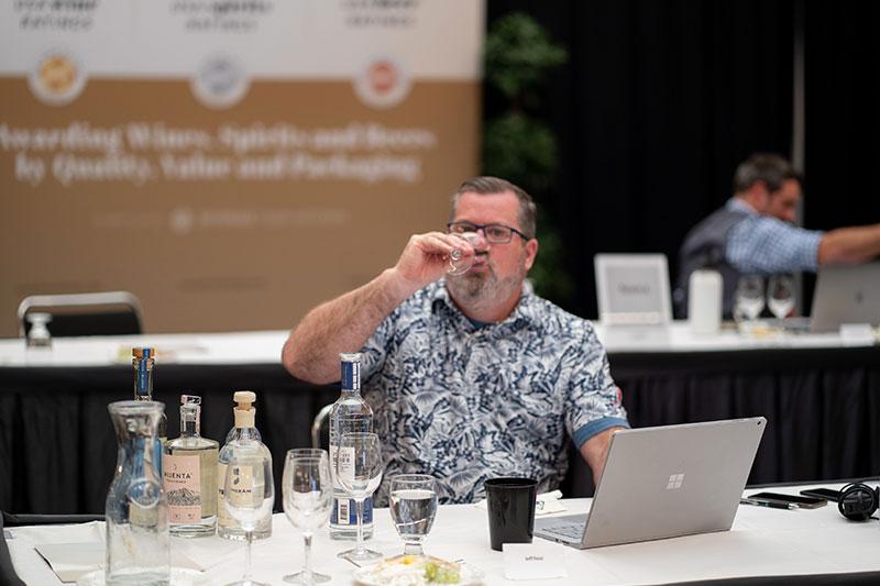 Jeff Feist, BevMo's national spirits buyer judging at the 2021 USA Spirits Ratings